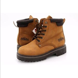 Redwoods Boys Tan Round Toe Leather Combat Boots